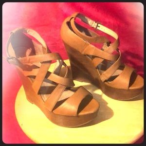 Aldo wedge sandals brown open toe